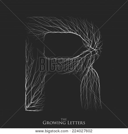 Vector letter R of branch or cracked alphabet. R symbol consisting of growing white lines. Fractured letters. Lighting silhouet of capital letters. Abstract font
