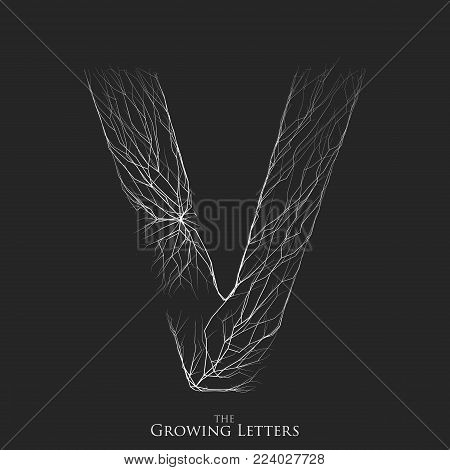 Vector letter V of branch or cracked alphabet. V symbol consisting of growing white lines. Fractured letters. Lighting silhouet of capital letters. Abstract font