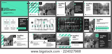 Green presentation templates elements on a white background. Vector infographics. Use in Presentation, flyer and leaflet, corporate report, marketing, advertising, annual report, banner.