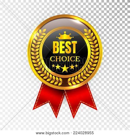Gold Best Choice Label Illustration Golden Medal Label Icon Seal Sign Isolated on Transparent Background. Vector.