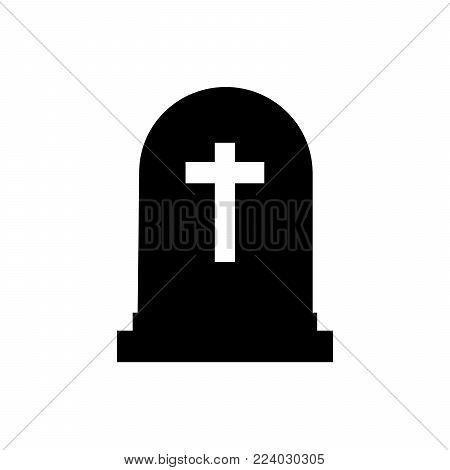 Halloween grave icon silhouette. Gravestone vector illustration. Rip tombstone flat icon. EPS