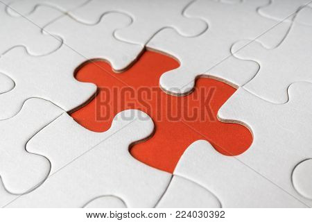 One Last Piece Of White Empty Puzzle Is Missing.