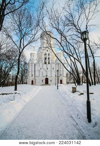 ancient white church in the Kolomna park in Moscow