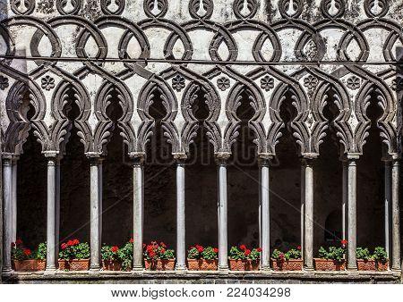 Beautiful view of famous cloister columns of Villa Rufolo in Ravello, Amalfi Coast, Campania, Italy