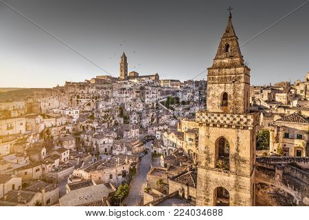 Ancient town of Matera (Sassi di Matera), European Capital of Culture 2019, in beautiful golden morning light, Basilicata, southern Italy