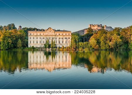 Famous Schloss Leopoldskron, location to Karl Lagerfeld's Paris-Salzburg catwalk presentation show to showcase the new Chanel Métiers d'Art 2014/15 fashion collection, in Salzburg, Austria at sunset