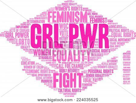 Grl Pwr Word Cloud On A White Background.