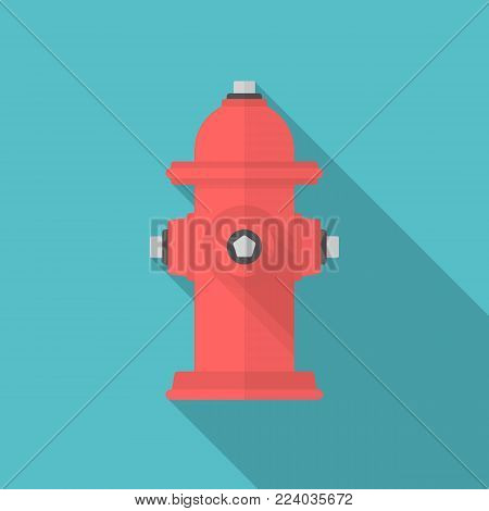 Fire hydrant icon with long shadow. Flat design style. Fire hydrant simple silhouette. Modern, minimalist icon in stylish colors. Web site page and mobile app design vector element.
