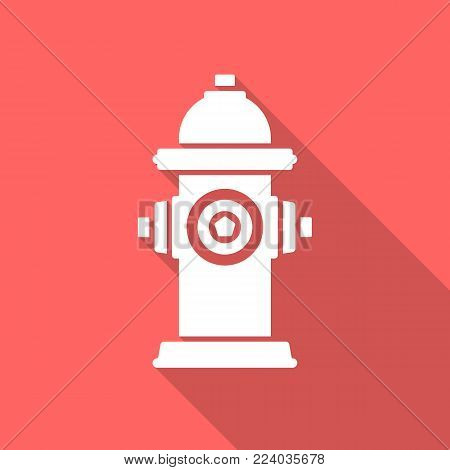 Fire Hydrant Icon With Long Shadow. Flat Design Style. Fire Hydrant Simple Silhouette. Modern, Minim