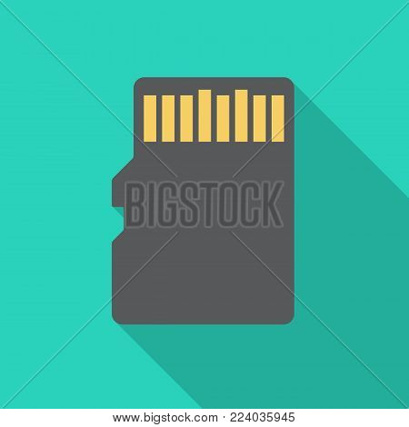 SD memory card icon with long shadow. Flat design style. Memory card simple silhouette. Modern, minimalist icon in stylish colors. Web site page and mobile app design vector element.