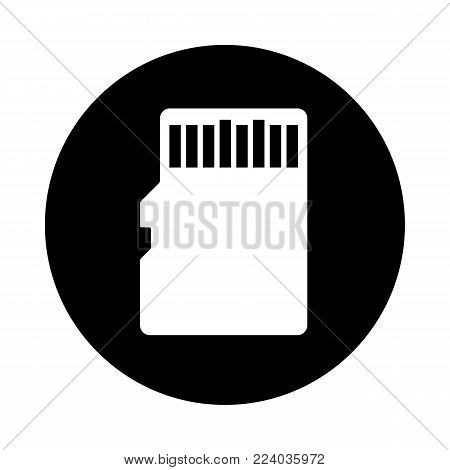 Sd Memory Card Circle Icon. Black, Round, Minimalist Icon Isolated On White Background. Memory Card