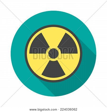 Radiation symbol circle icon with long shadow. Flat design style. Radiation symbol simple silhouette. Modern, minimalist, round icon in stylish colors. Web site page and mobile app design vector element.