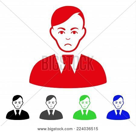 Sadly Clerk vector icon. Vector illustration style is a flat iconic clerk symbol with gray, black, blue, red, green color versions. Face has sadness expression.