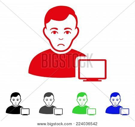 Unhappy Computer Administrator vector icon. Vector illustration style is a flat iconic computer administrator symbol with grey, black, blue, red, green color versions. Face has sad feeling.