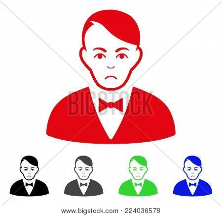 Sadly Dealer vector pictogram. Vector illustration style is a flat iconic dealer symbol with gray, black, blue, red, green color variants. Face has problem expression.