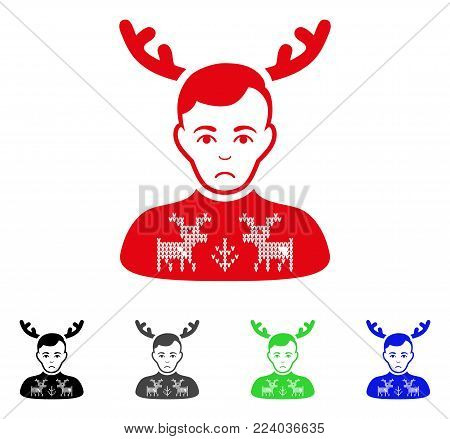 Unhappy Deers Pullover Horned Husband vector pictogram. Vector illustration style is a flat iconic deers pullover horned husband symbol with gray, black, blue, red, green color variants.