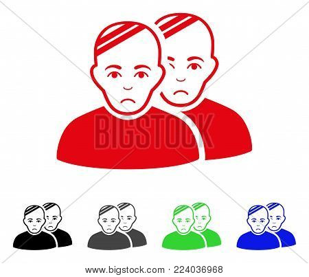 Sad Patients vector pictograph. Vector illustration style is a flat iconic patients symbol with gray, black, blue, red, green color variants. Face has affliction emotions.