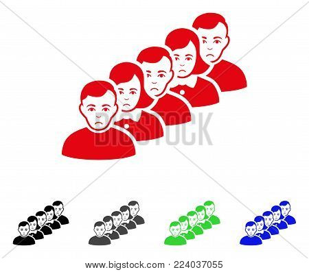 Dolor People Queue vector icon. Vector illustration style is a flat iconic people queue symbol with gray, black, blue, red, green color versions. Face has depression emotion.