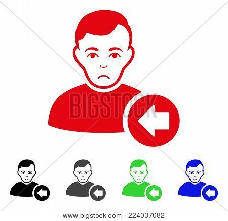 Sadly Previous User vector icon. Vector illustration style is a flat iconic previous user symbol with gray, black, blue, red, green color variants. Face has affliction emotion.