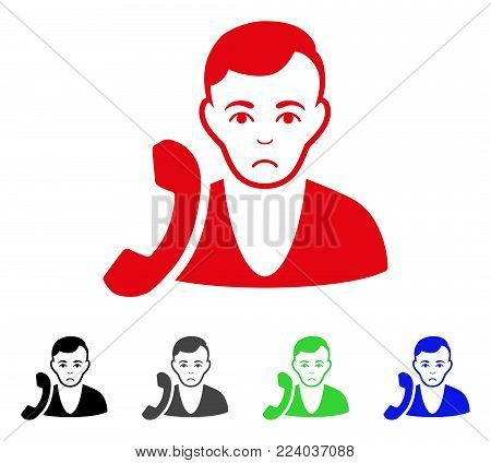 Unhappy Receptionist vector icon. Vector illustration style is a flat iconic receptionist symbol with gray, black, blue, red, green color variants. Face has desperate sentiment.