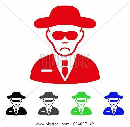 Dolor Spy vector pictograph. Vector illustration style is a flat iconic spy symbol with grey, black, blue, red, green color variants. Face has sad sentiment.