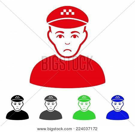 Unhappy Taxi Driver vector icon. Vector illustration style is a flat iconic taxi driver symbol with grey, black, blue, red, green color versions. Face has sad emotions.