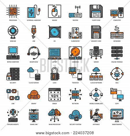 about computer filled outline icon, cloud technology, computer accessory, isolated on white background