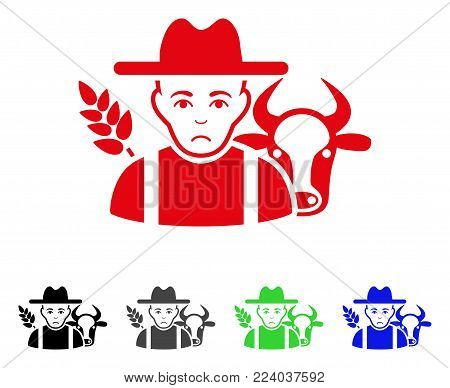 Unhappy Farmer vector pictograph. Vector illustration style is a flat iconic farmer symbol with gray, black, blue, red, green color variants. Face has sadness emotion.