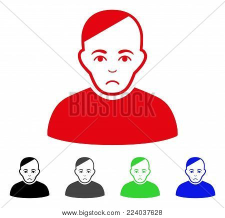 Sadly Patient vector pictograph. Vector illustration style is a flat iconic patient symbol with grey, black, blue, red, green color versions. Face has affliction expression.