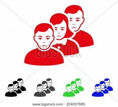 Pitiful People Queue vector pictogram. Vector illustration style is a flat iconic people queue symbol with grey, black, blue, red, green color variants. Face has affliction feeling.
