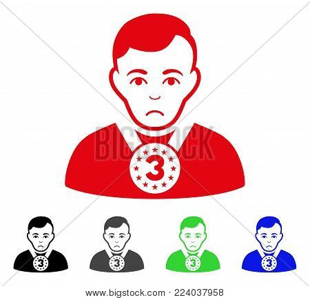 Pitiful 3rd Prizer Sportsman vector pictograph. Vector illustration style is a flat iconic 3rd prizer sportsman symbol with grey, black, blue, red, green color versions. Face has sadness emotion.