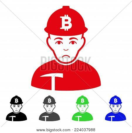 Sad Bitcoin Miner vector icon. Vector illustration style is a flat iconic bitcoin miner symbol with grey, black, blue, red, green color variants. Face has sadly expression.