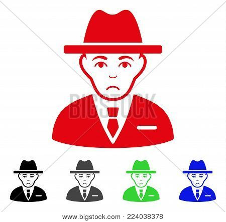 Dolor Agent vector pictogram. Vector illustration style is a flat iconic agent symbol with grey, black, blue, red, green color variants. Face has depression feeling.