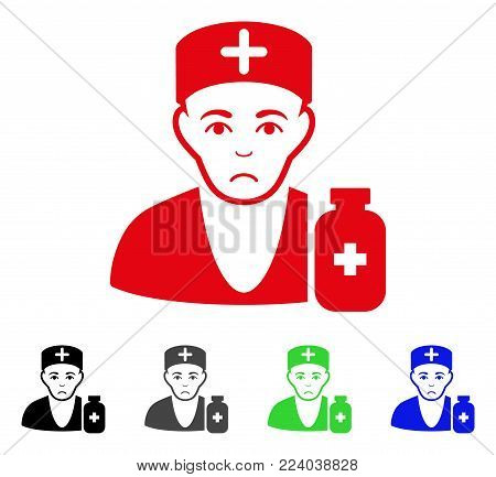 Dolor Apothecary Doctor vector icon. Vector illustration style is a flat iconic apothecary doctor symbol with grey, black, blue, red, green color variants. Face has stress mood.