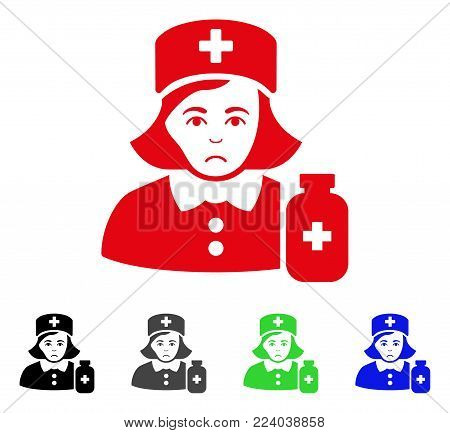 Dolor Apothecary Lady vector pictograph. Vector illustration style is a flat iconic apothecary lady symbol with gray, black, blue, red, green color versions. Face has pitiful emotion.