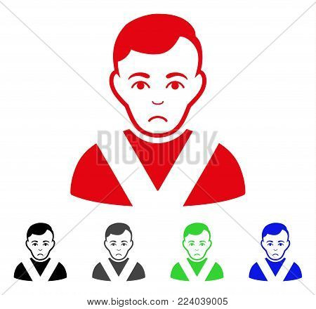 Pitiful Awarded Man vector icon. Vector illustration style is a flat iconic awarded man symbol with grey, black, blue, red, green color versions. Face has sadness sentiment.
