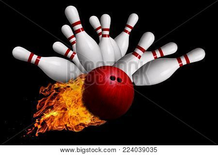 Fiery red bowling ball striking against pins in a ten-pin bowling game. Isolated on black background. Concept of a hot streak.