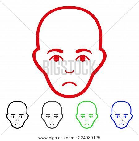 Unhappy Bald Head vector pictograph. Vector illustration style is a flat iconic bald head symbol with gray, black, blue, red, green color versions. Face has pitiful expression.