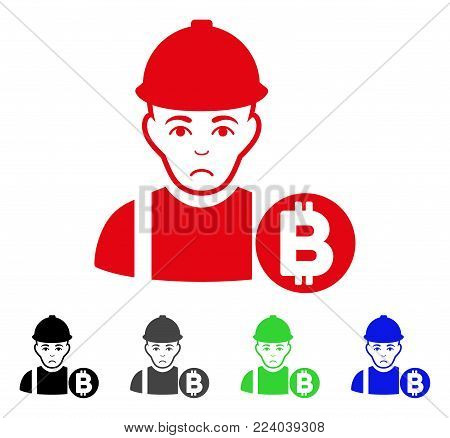 Pitiful Bitcoin Miner vector icon. Vector illustration style is a flat iconic bitcoin miner symbol with gray, black, blue, red, green color variants. Face has depression sentiment.