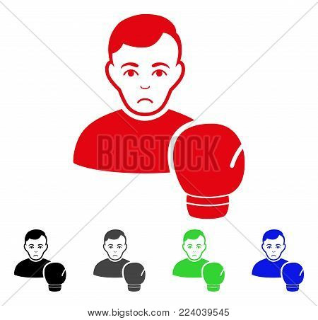 Unhappy Boxing Sportsman vector icon. Vector illustration style is a flat iconic boxing sportsman symbol with grey, black, blue, red, green color variants. Face has depression sentiment.