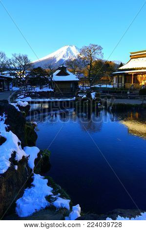 Mount Fuji early morning in winter from