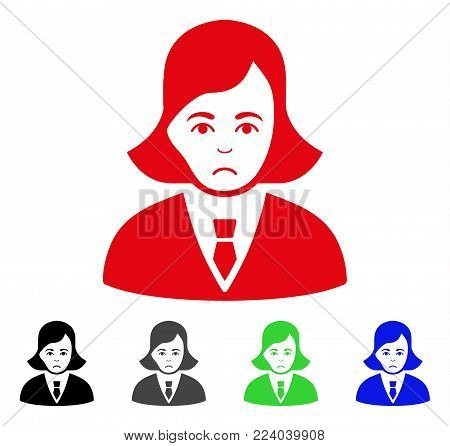 Dolor Business Lady vector icon. Vector illustration style is a flat iconic business lady symbol with grey, black, blue, red, green color versions. Face has stress feeling.