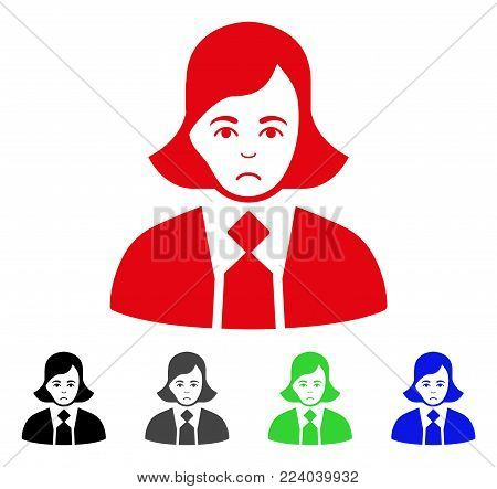 Dolor Business Woman vector icon. Vector illustration style is a flat iconic business woman symbol with gray, black, blue, red, green color variants. Face has depression sentiment.