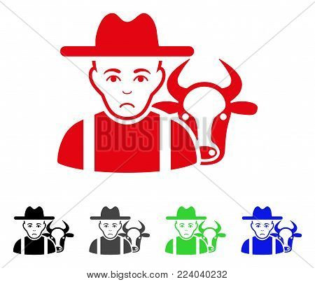 Sad Cattle Farmer vector pictogram. Vector illustration style is a flat iconic cattle farmer symbol with gray, black, blue, red, green color variants. Face has depressed mood.