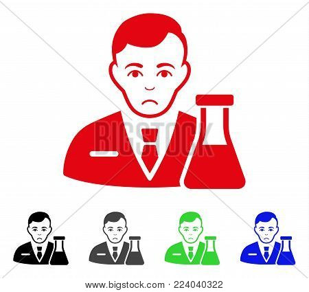 Unhappy Chemistry Man vector pictograph. Vector illustration style is a flat iconic chemistry man symbol with grey, black, blue, red, green color variants. Face has sadly emotions.