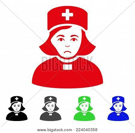 Unhappy Church Female Doctor vector pictograph. Vector illustration style is a flat iconic church female doctor symbol with grey, black, blue, red, green color variants. Face has depressed emotions.