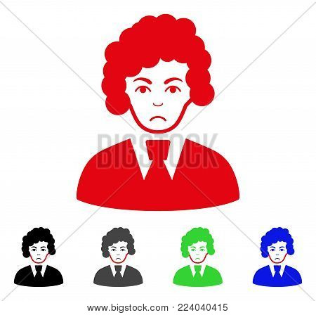 Sadly Clerk Woman vector pictogram. Vector illustration style is a flat iconic clerk woman symbol with gray, black, blue, red, green color versions. Face has depressed emotion.