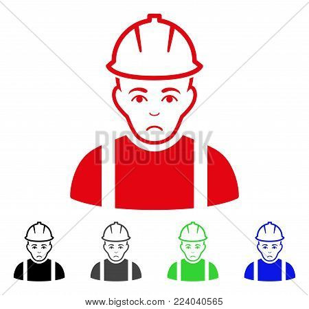 Sad Contractor vector pictogram. Vector illustration style is a flat iconic contractor symbol with grey, black, blue, red, green color variants. Face has affliction expression.