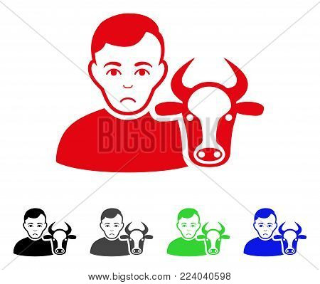 Dolor Cow Farmer vector pictograph. Vector illustration style is a flat iconic cow farmer symbol with gray, black, blue, red, green color versions. Face has desperate feeling.
