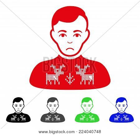 Dolor Deers Pullover Boy vector pictograph. Vector illustration style is a flat iconic deers pullover boy symbol with grey, black, blue, red, green color variants. Face has desperate expression.